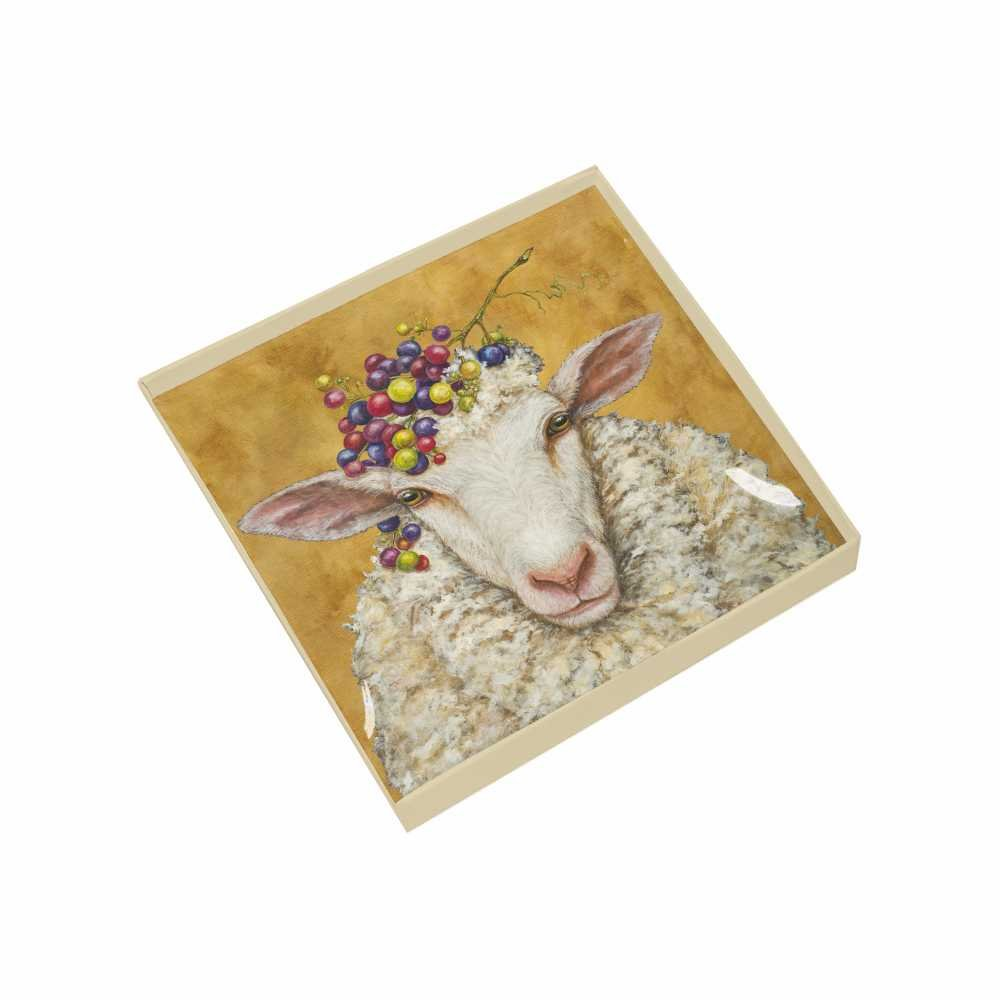 Paperproducts Design Gift-Boxed Glass Dish Displaying Original Vicki Sawyer Vineyard Sheep Design, 6 x 6 x 1'', Multicolor