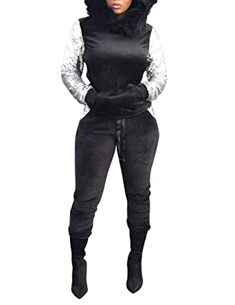 22efba363a6b Women's 2 Piece Velour Sequin Patchwork Outfits Long Sleeve Pullover Hoodie  and Sweatpants Set Sweatsuit Black