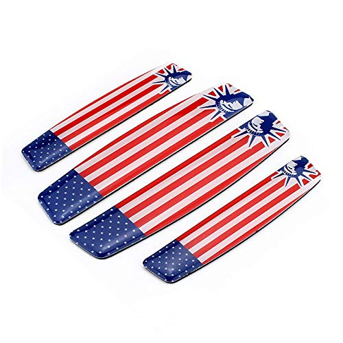 4x Soft Resin US America Flag Stips And Stars Emblem For Door Guard Scratch Prevention Auto Bumper Corner Protection Sticker Decals Badges