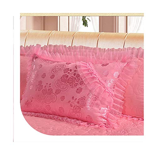 mamamoo 4/6/8 pcs Jacquard lace red Pink Bedding Set Queen Size Wedding Bed Cotton Bed Sheets Duvet Cover Set bedspreads,Pink,Queen 6pcs,Thickened Bed Cover