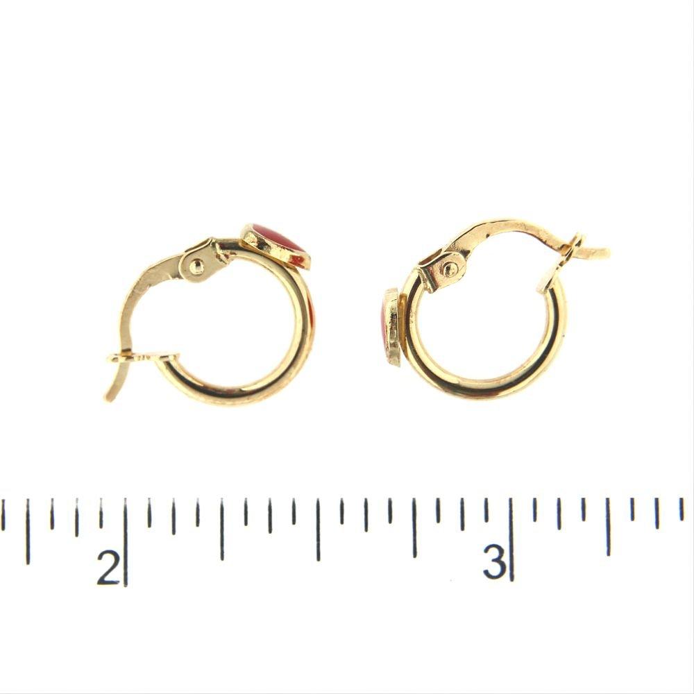 18K Yellow Gold Red Heart Hoops 0.44 inch 11 mm diameter