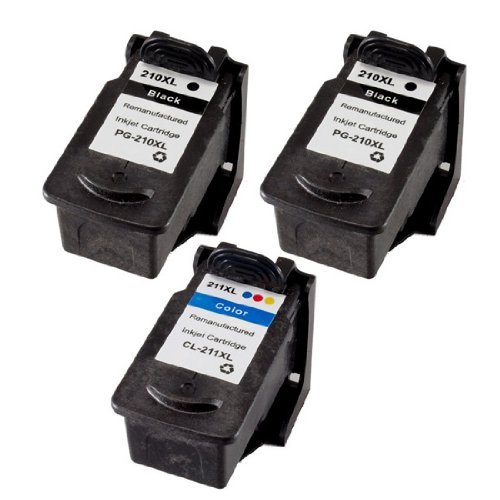 Price comparison product image INKUTEN Replacement (Combo-Pack of 3) PG-210XL Black & CL-211XL Color High Capacity Replacement Print Ink Cartridge, 2 Black & 1 Tri-Color