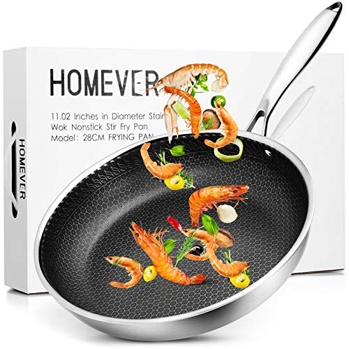 Nonstick Frying Pan, HOMEVER 11″ Tri-Ply Honeycomb Skillet, Family Sized Open Skillet with Stainless Steel Stay Cool & Helper Handle, Oven and Dishwasher Safe, PFOA Free