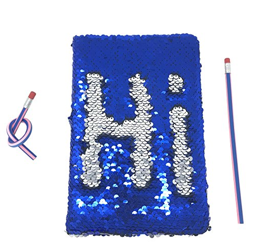 Sequin Notebook, Eeasily Reversible Blue to Silver Journal for Brilliant Ideas, Long Year Planning, Well Noting & Good Memories & Wonderful Writing with 2 Pcs Magic Soft Pencils
