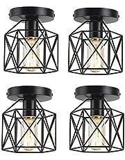 4 Pack Vintage Flush Mount Ceiling Light, E26 Black Cage Semi Flush Ceiling Light Fixtures, Rustic Ceiling Pendant Lighting Lamp Fixtures for Hallway, Stairway, Kitchen
