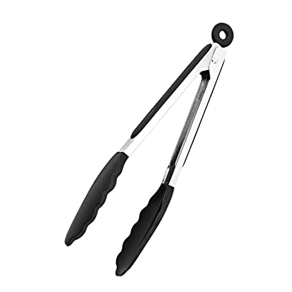 Stainless Steel Kitchen Cooking Tongs With Silicone Tips For Food Serving Barbecue And Grill 9 Inch