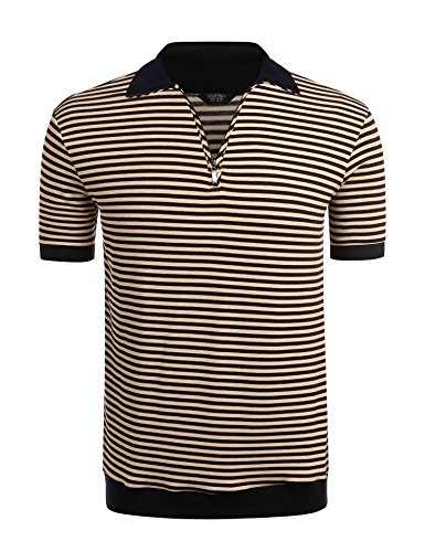 (COOFANDY Mens Casual Quarter Zip Short Sleeve Striped Polo Shirts Contrast Collar Golf Tennis Shirt Tops)