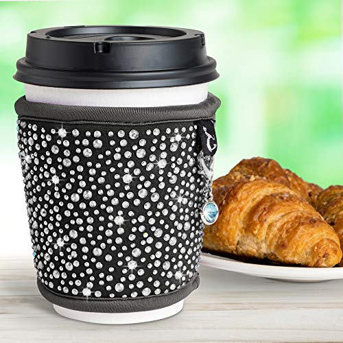 Insulated Coffee Cup Sleeves Reusable - Neoprene Custom Bling Rhinestone Design Coffee Cup Holder | Tea Coffee Cup Sleeve | Hot Cup Sleeves Fits 8oz 10oz 12oz 16oz Cups | Keep Coffee Warmer Longer