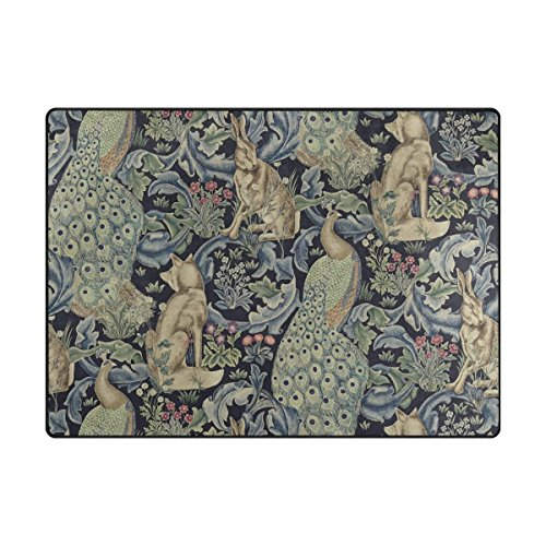 (INGBAGS Super Soft Modern William Morris Prints Area Rugs Living Room Carpet Bedroom Rug for Children Play Solid Home Decorator Floor Rug and Carpets 80x 58 Inch)