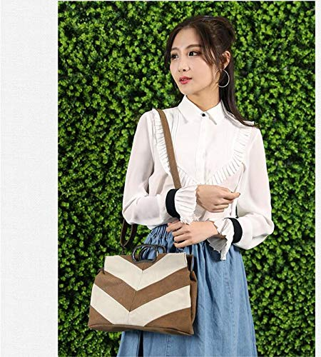 fei Mujer Mano de marrón Casuales Wei Mujer para Lona única Bolso Talla Costuras con marrón de niña Tw4pqdP