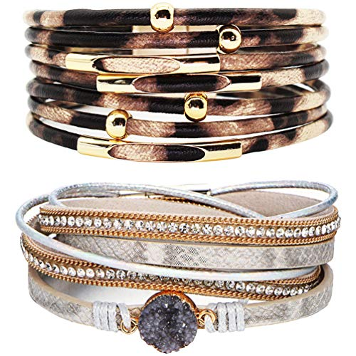 (LightOnIt Leopard Bracelets for Women Girls Metal Pipe Charm Multilayer Wide Leather Wrap Bracelet)