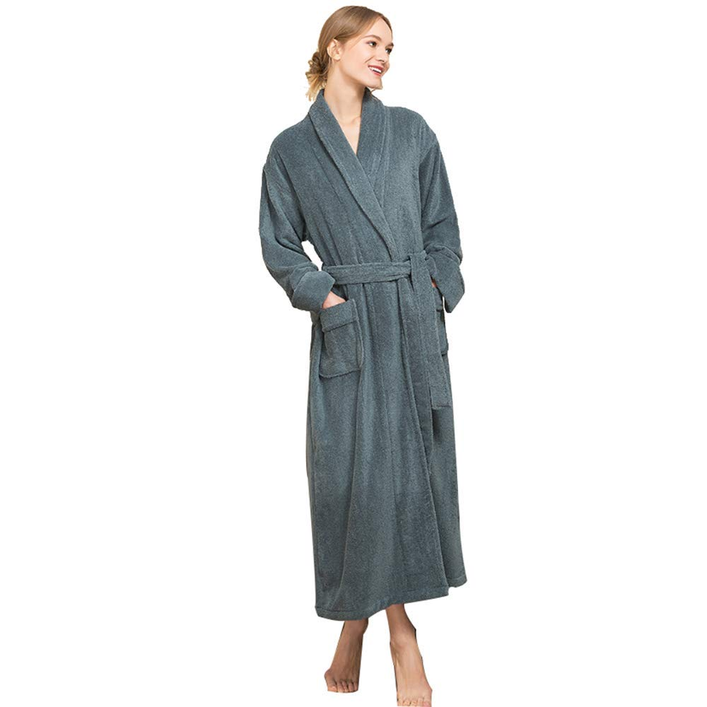 Women  Dark Green Extra Long Bathrobe, Unisex Couple Cotton Absorbent Terry Towelling, Hotel Thickening Dressing Gown with Pockets and Belt