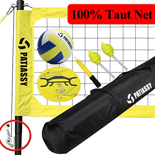 Volleyball Net Set System Outdoor with Poles, Portable Volleyball Set for Backyards, Tightener for Anti Sag Net