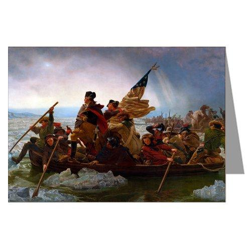 12 Vintage Note card boxed set of George Washington Crossing the Delaware by Emanuel Leutze, Museum Modern Art c1851.