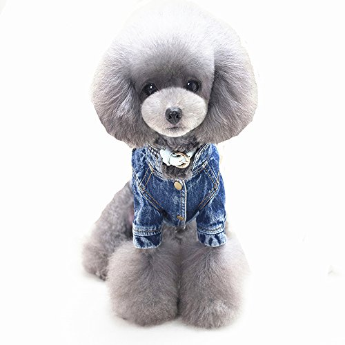 Ilistar Pet Dog Clothes Cat Blue Jean Denim Clothing Cute Puppy Coat Jacket Button Front Outfit (XXL (chest 48 cm)) by ilistar (Image #4)
