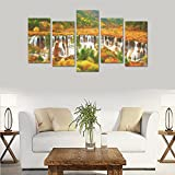 Art Oil Painting Decoration Colorful nature waterfall beautiful autumn Custom 100% Canvas Material Canvas Print Bedroom Wall Art Living Room Mural Decoration 5 Piece Canvas painting (No Frame)