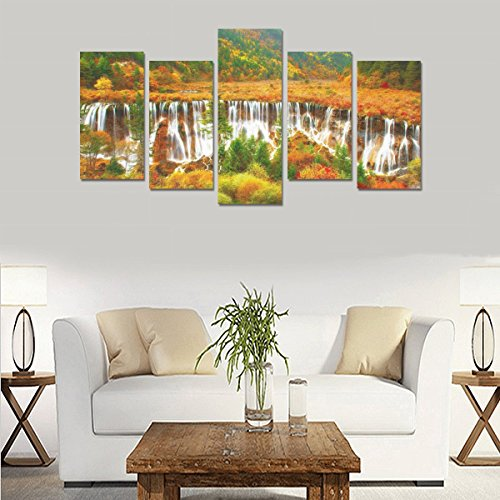 Art Oil Painting Decoration Colorful nature waterfall beautiful autumn Custom 100% Canvas Material Canvas Print Bedroom Wall Art Living Room Mural Decoration 5 Piece Canvas painting (No Frame) by sentufuzhuang Canvas Printing