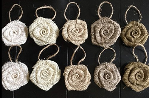 Burlap Christmas Ornaments-Set of 10 Burlap Flower Hanging Ornaments in Shades of Neutral Christmas Tree Wreath Table Package Decoration Holiday Party Flowers Christmas Ornament