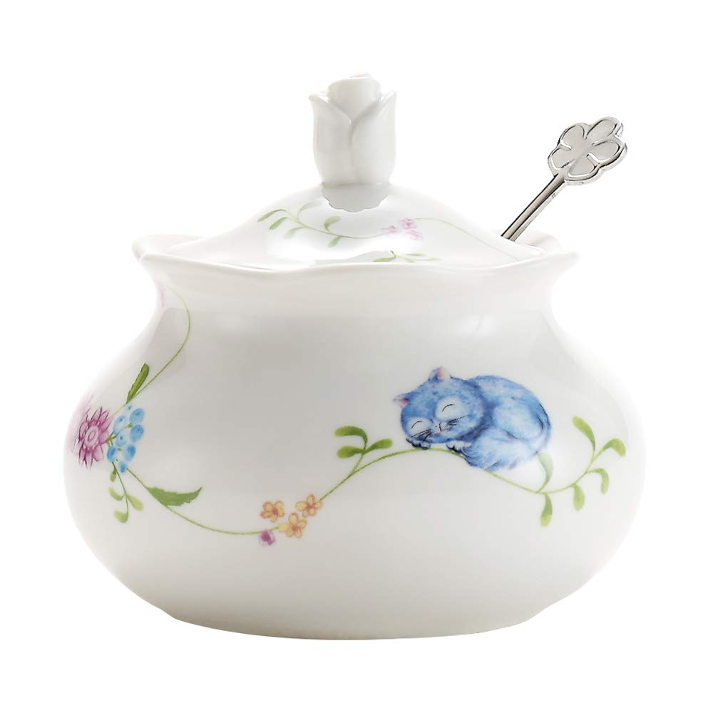 DoDola Ceramics Vintage Floral Cat Sugar Bowl Spice Jar with Lid and Spoon Seasoning Box Condiment Pots 14 Ounces