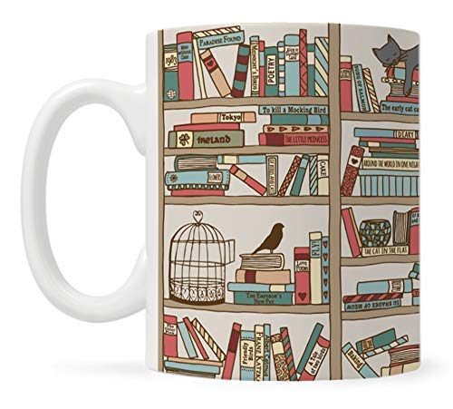 Book Coffee Mug, Book Lover Gift, Bookish Gifts, Librarian Mug, Bookworm Mug, Gift for Bibliophile, Books and Cats
