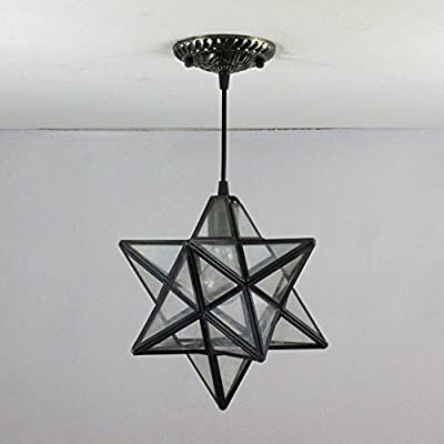 8-Inch European Pastoral Star rays Tiffany Pendant Light Ceiling Porch Lamp