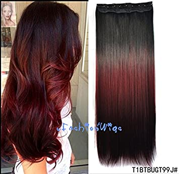 Amazon black to burgundy to red three colors ombre hair amazon black to burgundy to red three colors ombre hair extension synthetic hair extensions uf208 beauty pmusecretfo Image collections