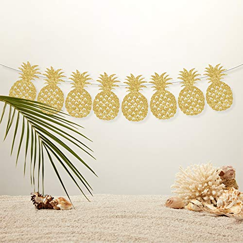 CC HOME Gold Glitter Pineapple Banner Bunting Garland for Wedding,Bridal Shower,Birthday Party,Baby Shower, Luau Party Decorations Tropical Hawaiian Luau Summer Themed Party Supplies -