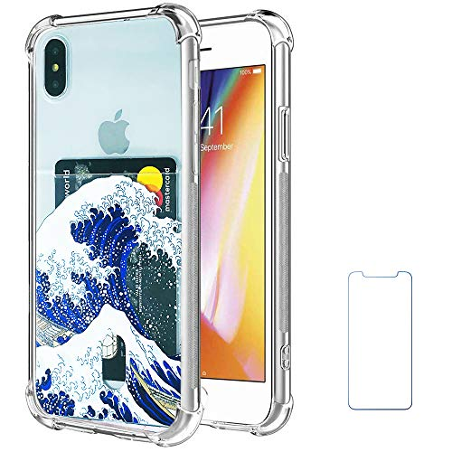 Oddss Case Compatible for iPhone Xs Max with Card Holder Slot Blue Japanese Wave Ultra-Slim Thin Soft TPU Clear Cover Compatible for iPhone Xs Max (6.5