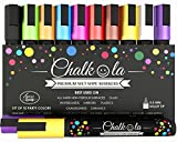 Chalk Pens - Pack of 10 neon Colour Markers. Used on Whiteboard, Chalkboard, Window, Blackboard - 6mm Reversible Bullet & Chisel Tip