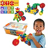 109 Piece Educational Engineering Building Set for 4, 5, 6, 7+ Year Old Boys & Girls. Fun Learning Construction Blocks & Gears Kit makes it the Best STEM Toy Gift for Kids Ages 4yr – 8 yr.