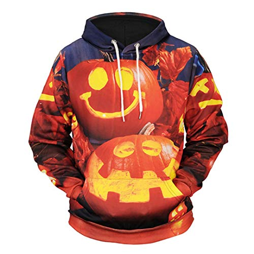 kaifongfu Hoodie for Men,Scary Halloween Top with Pumpkin 8D Print Party Long Sleeve Blouse(Orange A,L)