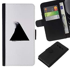 // PHONE CASE GIFT // Moda Estuche Funda de Cuero Billetera Tarjeta de crédito dinero bolsa Cubierta de proteccion Caso Samsung Galaxy A3 / Geometry Triangle B&W /