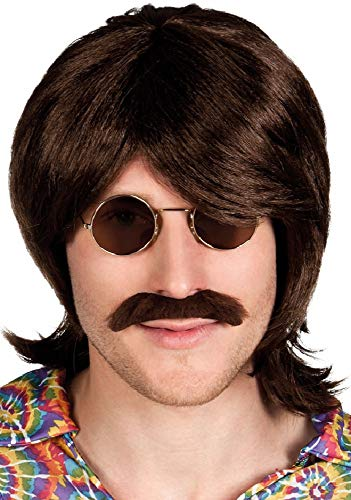 Mens Brown 1960s 60's Wig & Moustache Hippy Hippie Fancy Dress Costume Outfit -