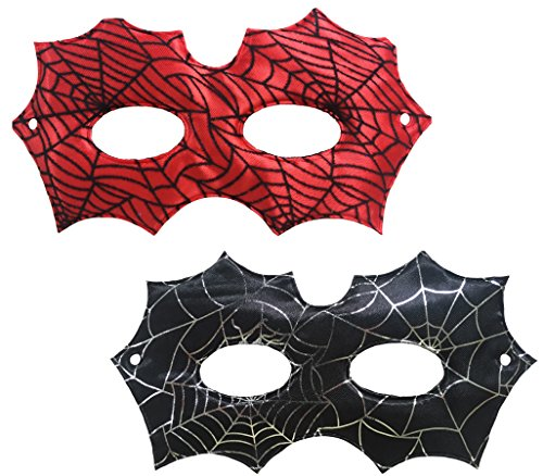 Party Essentials Superhero Spiderman Style Face Masks for Birthday Themed Party Halloween mask Kids Adult (1 Black, 1 Red) -