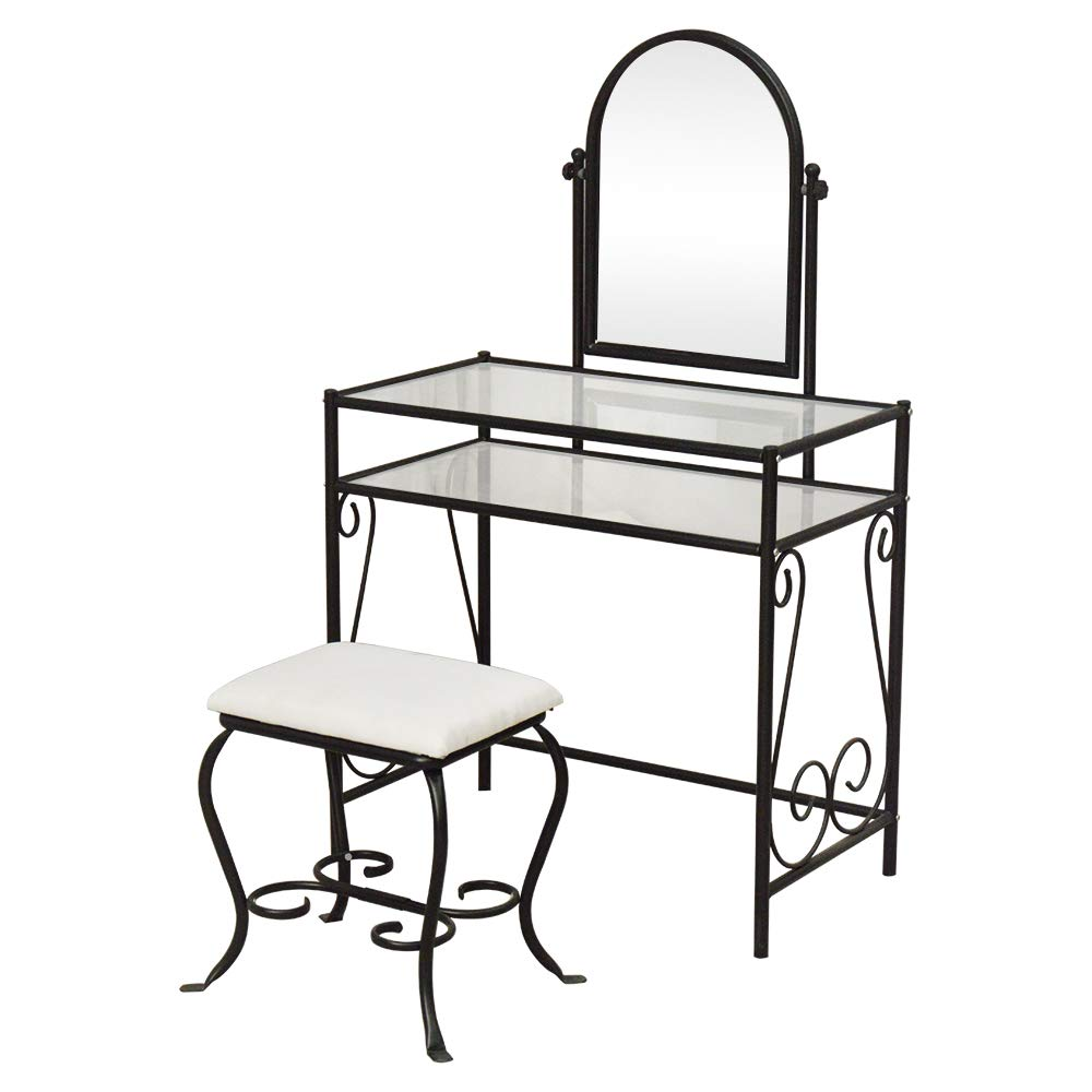Knocbel Metal Vanity Makeup Table Set Tempered Glass Tabletop with Rotatable Mirror & Cushioned Stool Chair Make Up Dressing Table (Black Simple) by Knocbel