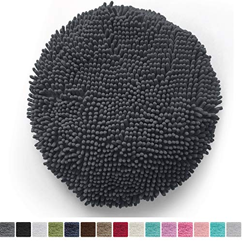 - Gorilla Grip Original Shag Chenille Bath Rug Toilet Lid Cover, 19.5