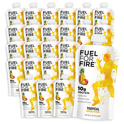Fuel For Fire - Tropical (24 Pack) Fruit & Protein Smoothie Squeeze Pouch | Perfect for Workouts, Kids, Snacking - Gluten-Free, Soy-Free, Kosher (4.5 ounce pouches)