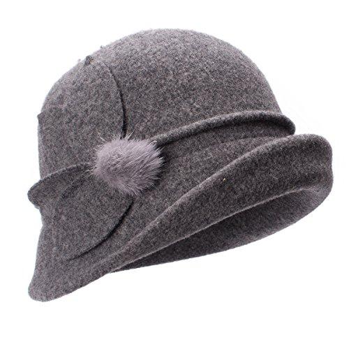 Lawliet Womens Retro Upturn Brim Wool Blend Cloche Church Wedding Hat A474 (Gray) by Lawliet
