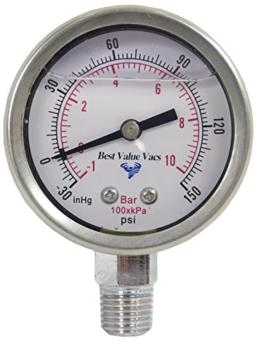 Best Value Vacs Glycerin Filled Compound Gauge, 1/4'' NPT Base by BEST VALUE VACS