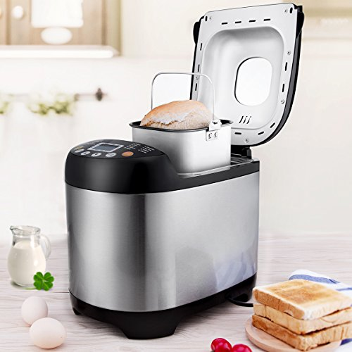 Stainless steel bread machine with a black frame.