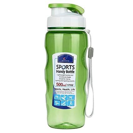Pondkoo Botella de plástico portátil para Viajes, Deportes, Agua de té, 500 ML