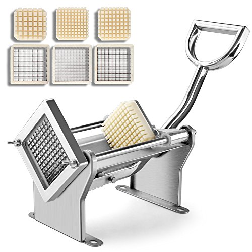 Flexzion Potato Slicer French Fry Vegetable Fruit Cutter Chopper Apple Slices Chips Stainless Steel with 3 Blades for Commercial Home Kitchen Restaurant Mounted on Wall or On Table