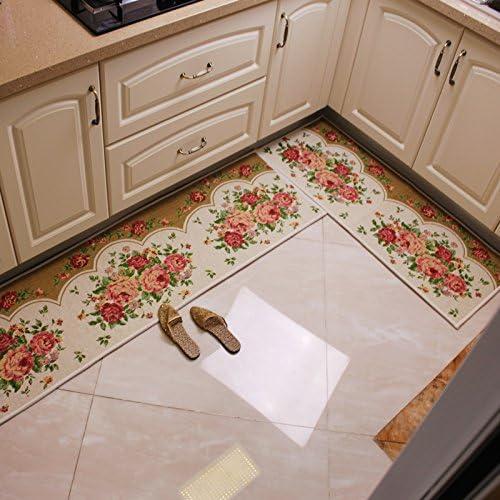 Alfombrilla de Cocina Japonesa GuoBi Home con diseño de Rosas y Tiras de Aceite para Absorber el Agua, Alfombrillas para Puerta corredera, Alfombrillas para el Suelo, Alfombrillas para el salón, B: Amazon.es: