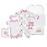 Cutie Pie Girl's 9 Piece Layette Set in Tulle Bag with Hanger Pink 0-3 Months