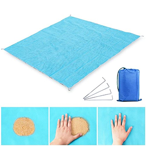 Sand Free Beach Mats,Sand Proof Beach Blanket Sand Proof Rug Picnic Blanket, Fast Dry and Easy to Clean, Perfect for the Beach, Picnic, Camping, Outdoor Events.Large Size 79'' x 79'' with 4 Weightable P by WeYingLe