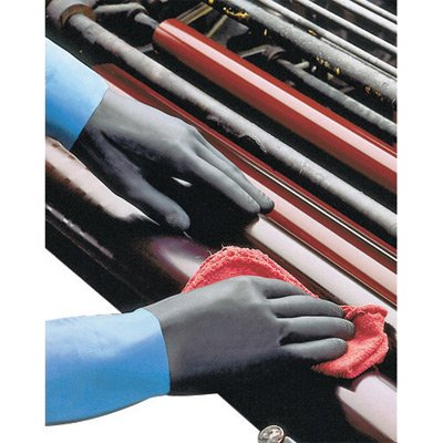 SHOWA Best Size 7 Small Black Chem Master 13'' Flock Lined 26 mil Unsupported Neoprene Rubber Latex Chemical Resistant Gloves With Tractor Tread Finish And Straight Cuff