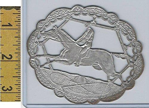 Victorian Card, 1890's, Animals, Horse Race Silver Foil Diecut (X)