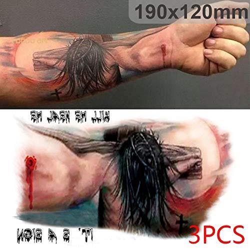 Miaomiaogo 3pcs Halloween Tattoos Jesus Cross/Deer Tattoos Temporary Body Art