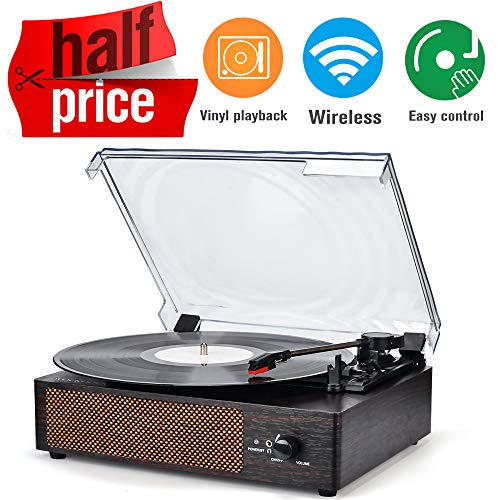 Record Player Turntable Wireless Portable LP Phonograph with Built in Stereo Speakers 3-Speed Belt-Drive Turntable Vinyl Record Player Vintage Style (Best Portable Vinyl Player)