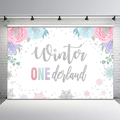 Mocsicka Winter Onederland Backdrop Girl's First Christmas Birthday Background Photography 7x5ft Pink Silver Snowflake 1st Birthday Party Banner Decorations